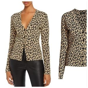 Theory Glossed Leopard-Printed V-Neck Cardigan